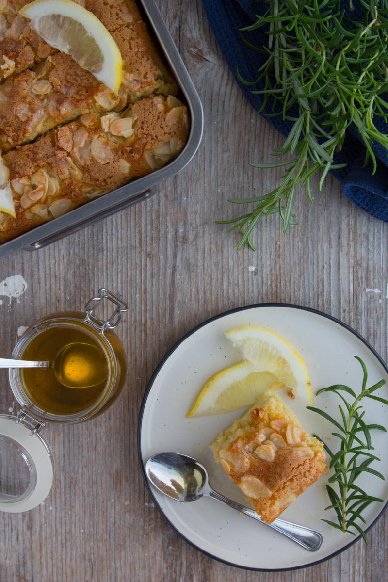 Almond, ricotta and lemon cake with rosemary syrup